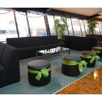 Lounge modules, ottomans and chrome glass coffee tables