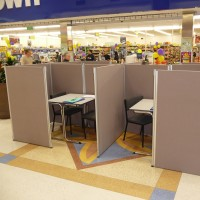 Research booths using partitions, Connecta tables & padded stacker chairs