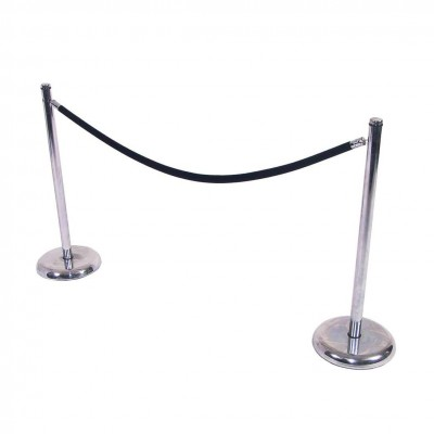 C8001 - Crowd Control - Chrome Stanchion - Black Rope