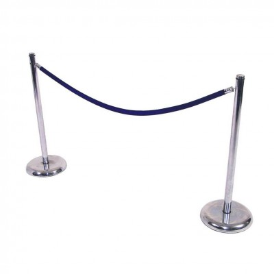 C8002 - Crowd Control - Chrome Stanchion - Navy Rope
