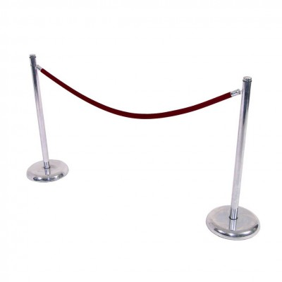 C8003 - Crowd Control - Chrome Stanchion - Red Rope
