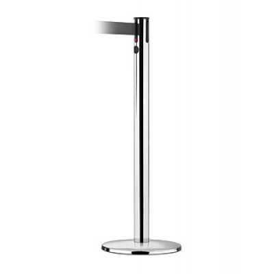 C8004 - Crowd Control - Tensabarrier - Chrome Stanchion - Black Tape