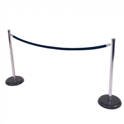 C8012 - Crowd Control - Chrome Stanchion with Black Base - Navy Rope