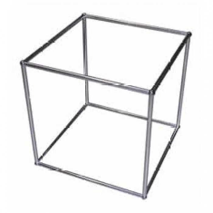 Office Furniture Hire - QED Display Cube - Alloy Frame - Glass Shelf