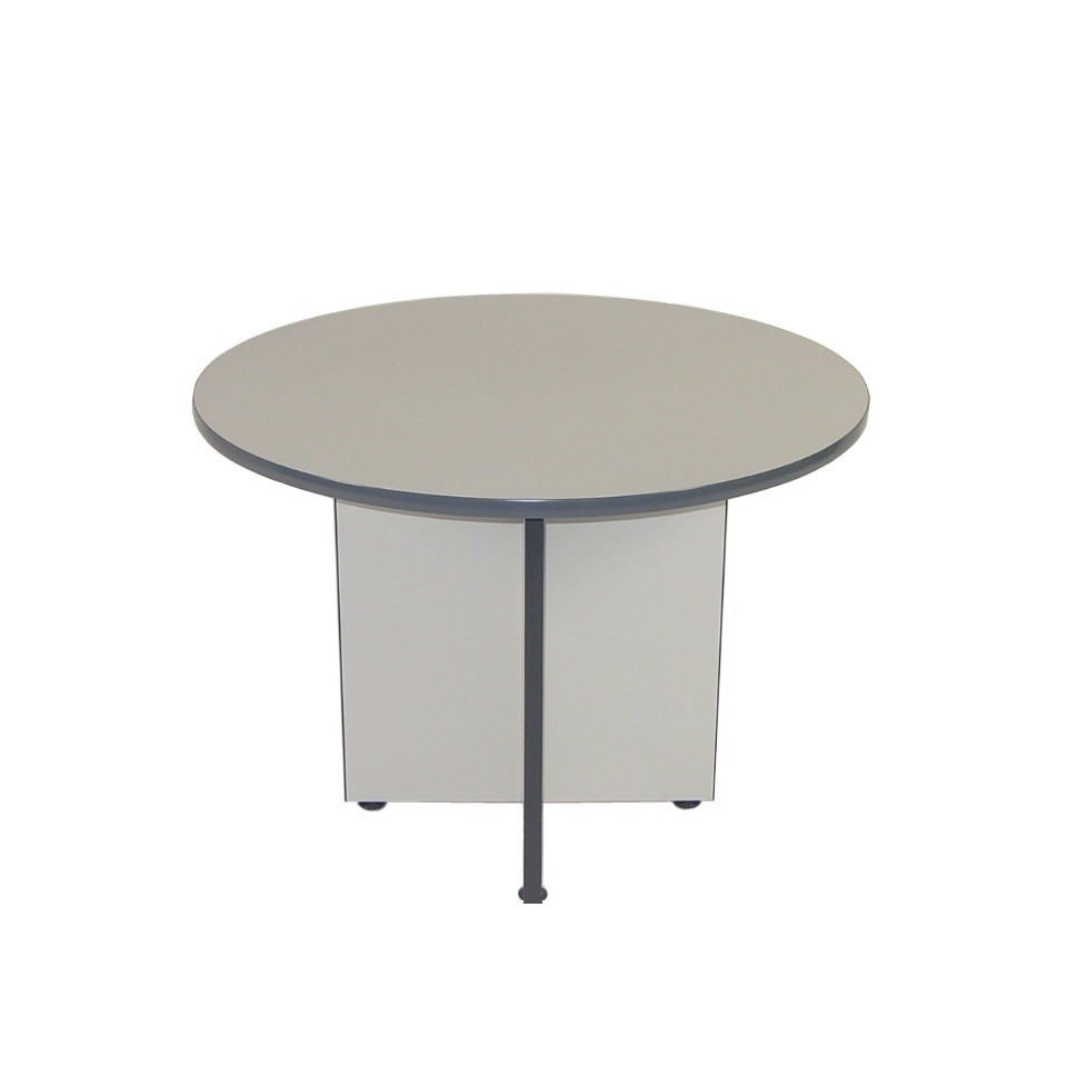 T4507 meeting table oxford grey top base 1000dia
